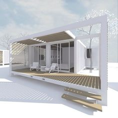 Rendering for a very simple but beautiful container home design. #clarkitecture #architect #containerhome #containerhouse by riverclarkhome