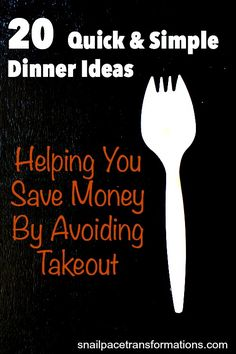 Quick & Simple Dinner Ideas: Helping You Save Money By Avoiding Takeout. Use this as a guide of simple ingredients to keep on hand at all times to avoid the price ouch of restaurant meals.