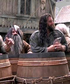 Thorin is about to toss a fish at Ori (Adam Brown), who does not see it coming. Bifur (William Kircher) has a fish stuck to his axe-head. Hobbit Films, The Hobbit Movies, One Does Not Simply, Joining The Army, Desolation Of Smaug, Thorin Oakenshield, Jrr Tolkien, Thranduil, Middle Earth