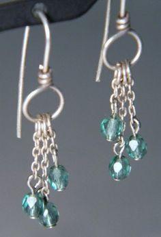 Silver & Blue Beaded Chain Earrings // Wedding // by FeistyFauna
