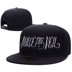 Pierce The Veil Band Logo Adjustable Snapback Caps Embroidery Hats ($9.99) ❤ liked on Polyvore featuring accessories, hats, adjustable snapback, snapback hats, snapback cap, logo snapback hats and cap snapback