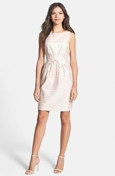 Gabby Skye Bow Waist Jacquard Sheath Dress available at #Nordstrom  Kadies Bridesmaid dress substitute gold belt