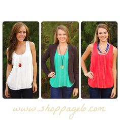 A great way to extend your sleeveless tops into fall is to put a blazer on with them! For our Southern Ladies still braving the heat, we love the detail on our Embroidered Flower Pleated Tank!   Order yours now>>> http://www.shoppage6.com/collections/tops-1/products/embroidered-flower-pleated-tank