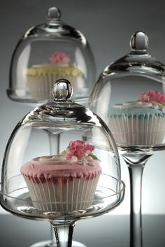 Set of Bell Jars Glass Dessert Stands With Domes
