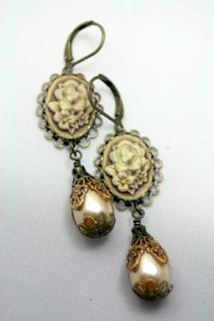 Brown Sugar Shimmer Cameo Earrings Dangle Pearls Champagne Botanical  | shadesongs - Jewelry on ArtFire