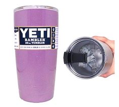 YETI Coolers 20 Ounce oz) Custom Rambler Tumbler Cup Mug with Exclusive Spill Resistant Spill Proof Slider Lid Tumbler Cups, Coolers, Shot Glass, Adhesive, Lavender, Sparkle, Mugs, Tableware, Dinnerware