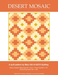 The Desert Mosaic quilt is a bold southwest design. This block-based quilt comes together quickly as it utilizes strip piecing and comes with three size options. This pattern is intended for confident beginners and assumes basic knowledge of quilting. Southwest Quilts, Quilt Patterns, Block Patterns, Quilt Top, Coloring Sheets, Baby Quilts, Quilt Blocks, Mosaic, Deserts