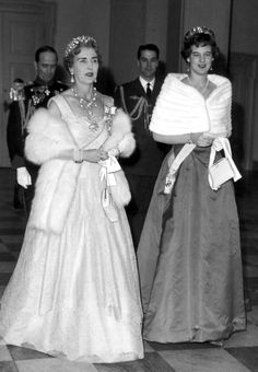 Queen Ingrid wore this tiara for a dinner, circa 1958 or 1959.