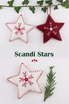 A set of two hand stitched felt ornaments, embroidered with a snowflake pattern in red and white and finished with blanket stitched edging and small buttons.The star measures 4 inches/10cm across and the heart measures 3.5 inches/ 8.5cm across.In the menu options you can choose the white set, the dark red set, the two hearts, the two stars or the complete set of four.#scandichristmas #feltchristmasornaments #starornament White Snowflake, Snowflakes, Dark Red, Red And White, Scandi Christmas, Felt Christmas Ornaments, Snowflake Pattern, Blanket Stitch, Star Ornament