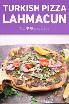 This spicy crispy Turkish Pizza called Lahmacun is a famous Turkish street food! Imagine crispy flatbread topped with seasoned lamb fresh mint red onions crumbled cheese and lemon juice and rolled like a wrap! So Delicious!