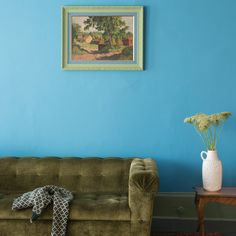 Farrow & Ball, st giles blue no 280 Farrow Ball, Blue Rooms, Blue Walls, Color Inspiration, Interior Inspiration, Deco Turquoise, Turquoise Sofa, New Paint Colors, Canapé Design