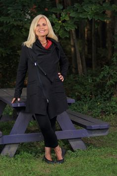 A fabulous asymmetric, zip front jacket style, the Zip Car Jacket from Neon Buddha is a style that stands on its own. Falling to mid-thigh length, and slightly via @sallymcgraw