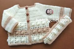 Free baby crochet pattern for popcorn square coat & headband http://www.justcrochet.com/coat-headband-usa.html #justcrochet