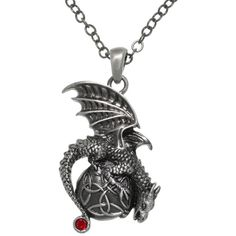 Jewelry Trends Pewter Dragon with Celtic Trinity Knot Orb Pendant on 24 Inch Chain Necklace Celtic Knot Jewelry, Celtic Knot Necklace, Red Necklace, Pendant Necklace, Wing Necklace, Chain Pendants, Jewelry Necklaces, Red Jewelry, Celtic Mythology
