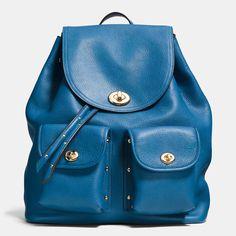 Coach Designer Backpacks   Turnlock Tie Rucksack in Refined Pebble Leather