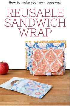 Learn how easy it is to make your own wax sandwich wraps. These reusable cloth sandwich wraps are perfect for picnics and packed lunches, ditch the plastic! Make your own reusable Sandwich wraps reuseable Sandwich Wrap, Wrap Sandwiches, Easy Sewing Projects, Sewing Hacks, Sewing Tutorials, Sewing Tips, Serger Sewing, Sewing Ideas, Sewing Patterns Free
