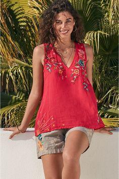 Uncommon Threads, Embroidered Tunic, Resort Style, Boho Look, Johnny Was, Geometric Designs, White Denim, Free Spirit, Design Model
