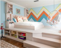 a cute bed + stairs + a swing= perfect room for a little girl.