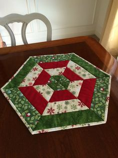 Christmas Red, White & Green Quilted Hexagon Table Runner