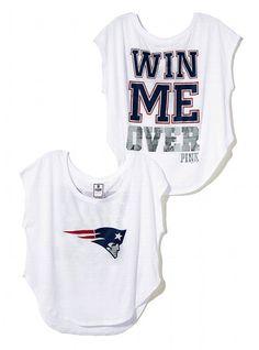 New England Patriots Drapey Dropped Hem Tee - Victoria's Secret PINK® - Victoria's Secret