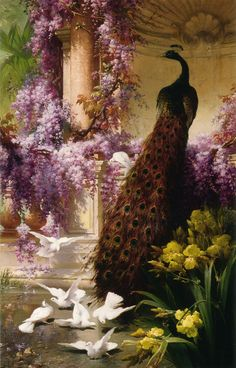 """""""A Peacock and Doves in a Garden"""" by Eugene Bidau (?-1895, French Painter).  This gorgeous 19th century painting that oozes sumptuousness and bright, spring beauty."""
