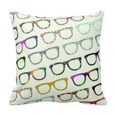 96f35f27c3a Retro Geek Hipster Glasses Pattern pillow Home Goods Decor