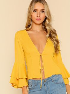 Shop Trumpet Sleeve Front Tie Top YELLOW online. SheIn offers Trumpet Sleeve Front Tie Top YELLOW & more to fit your fashionable needs.