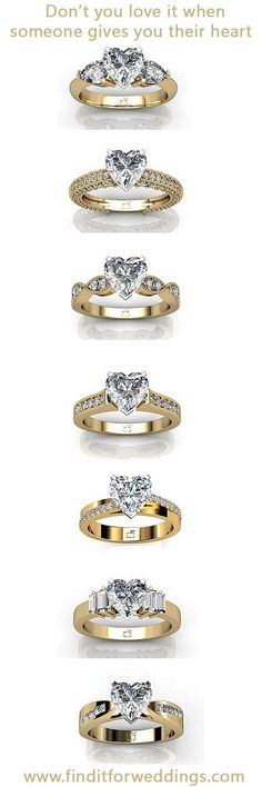 Heart shaped diamond engagement rings. www.finditforweddings.com: