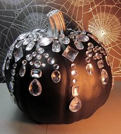 Pumpkin painted black and bedazzled