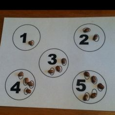 Number board with beans to practice counting and number recognition