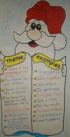 anchor chart / theme  = use holiday picture books to teach theme