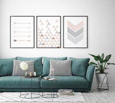 Blush Triptych, Set of 3 Prints, Nursery Art, Pink Wall Decor, Geometric Prints, Scandinavian Art, Large Print, Copper Art, Print Avenue