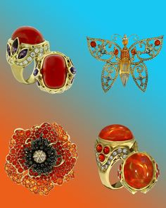 Paula Crevoshay Fire Opal Rings and Butterfly Brooch Different Colors, Vibrant Colors, Moss Agate, Black Opal, Opal Jewelry, Opal Rings, Moth, Diamonds, Jewelry Making