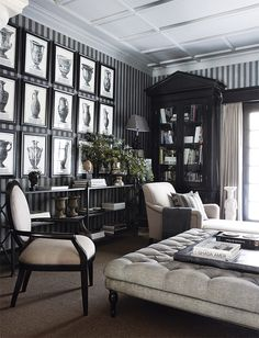 JOHN JACOB INTERIORS. Library steeped in the classics.