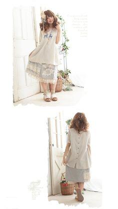 蝶希夏季新款森女装 贴布复古拼接森林系女式中长半身裙 宽松蕾丝