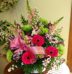 Funeral Basket with Gerber's, Spiders, Snapdragons and Alstroemeria