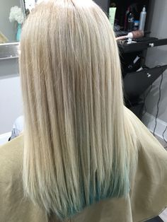 Ultra light blonde with teal panels through back