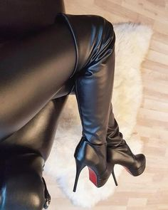 Overknee Stiefel Leder, Leder Leggings, Hohe Stiefel, Hochhackige Schuhe,  Strumpfhose, Mode b78080458c