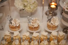 An Elegant Silver and Ivory Wedding at Fairmont Royal York - WedLuxe Magazine Elegant Cupcakes, Pretty Cupcakes, Beautiful Cupcakes, Star Wars Cupcakes, Themed Cupcakes, Wedding Cupcakes, Dessert Table Decor, Dessert Buffet, Candy Buffet