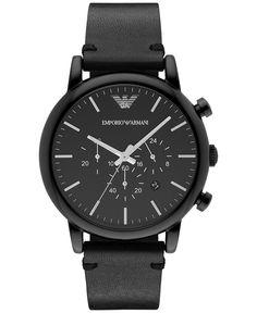 Emporio Armani Men's Chronograph Black Leather Strap Watch 46mm AR1918
