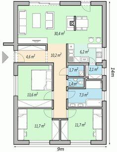project of family house LEMON Three Bedroom House Plan, Family House Plans, Best House Plans, Dream House Plans, Small House Plans, House Floor Plans, House Layout Plans, House Layouts, House Construction Plan