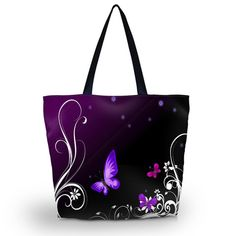 Purple Btterfly Soft Foldable Tote Women Shopping Bag Shoulder Bag Lady Handbag