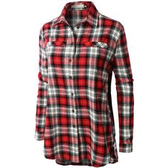 LE3NO Womens Flannel Long Sleeve Plaid Button Down Boyfriend Shirt ($28) ❤ liked on Polyvore featuring tops, plaid flannel shirt, button-down shirts, long plaid boyfriend shirt, red shirt and plaid shi