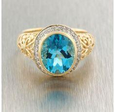14kt. Yellow Gold Blue Topaz Diamond Ring