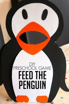 DIY Preschooler Game for learning - feed the penguin. Make it yourself and then feed the hungry penguin fish with words, colours, letters, numbers, shapes etc. on that you are learning at the moment.