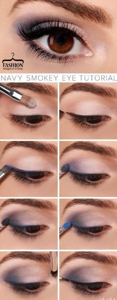 Navy Smokey Eye Makeup Tutorial - If eyes are the window to the soul, make them smolder with our navy blue smokey eye tutorial! It's our favorite sultry look for spring. Navy Eye Makeup, Eye Makeup Tips, Mac Makeup, Makeup Trends, Beauty Makeup, Makeup Ideas, Makeup Hacks, Makeup Brushes, Navy Blue Dress Makeup