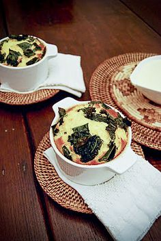 Soufflè alla zucca e cavolo nero con fonduta di bitto  Pumpkin & black cabbage soufflé with bitto fondue