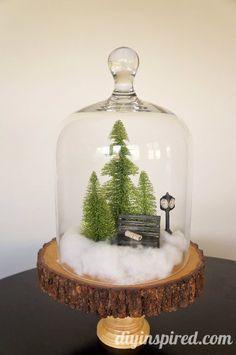 Easy Mini Winter Scene in a Cloche