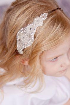 Flower Girl Headband Hard Rhinestone Headband Bridal by Pizzazzies