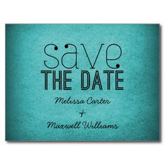 Trendy Grunge Save the Date Postcard, Teal